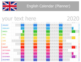 2020 English Planner Calendar with Horizontal Months on white background