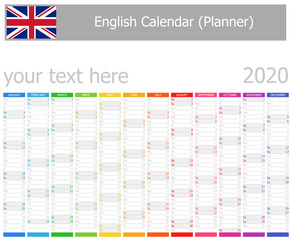 2020 English Planner Calendar with Vertical Months on white background