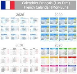 2020 French Mix Calendar Mon-Sun on white background