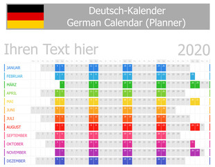 2020 German Planner Calendar with Horizontal Months on white background