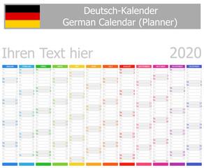 2020 German Planner Calendar with Vertical Months on white background