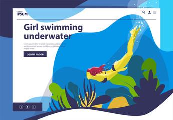 girl swims under water, underwater, depth, algae, marine plants pattern banner on the site