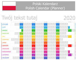 2020 Polish Planner Calendar with Horizontal Months on white background