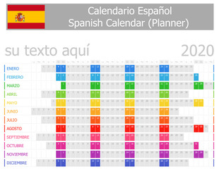 2020 Spanish Planner Calendar with Horizontal Months on white background