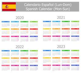 2020-2023 Spanish Type-1 Calendar Mon-Sun on white background