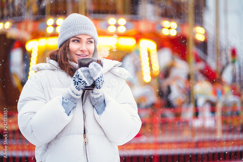4a1ad0769f9e Outdoors lifestyle fashion portrait of stunning girl walking on the ...