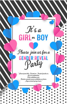 It's a girl or boy card, gender reveal party invitation. vector illustration.