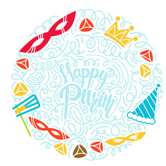 Purim greeting card in doodle style with with carnival mask, hats, crown, noise make and hamantaschen. Colorful vector illustration. Isolated on white background