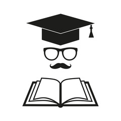 student hat education symbol with glasses and book on white background