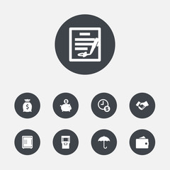 Set of 9 budget icons set. Collection of safe, moneybag, handshake elements.
