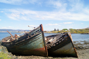 Ship wrecks in Salen on the Isle of Mull, Scotland