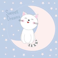 Cute sleeping kitty sitting in moon. Sweet dreams design element.