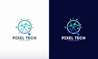 Pixel technology logo designs concept vector, Network Internet logo symbol