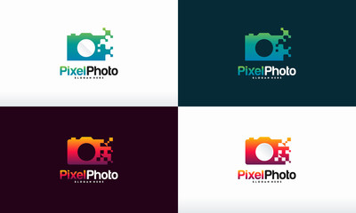 Set of Pixel Photography logo designs concept vector, Pixel Camera logo symbol Photography logo icon