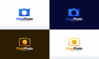 Set of Pixel Photography logo designs concept vector, Pixel Camera logo symbol Photography logo icon