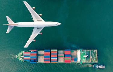 Aerial view logistics and transportation of Container Cargo ship and Cargo plane  for import export and transportation background. Wall mural