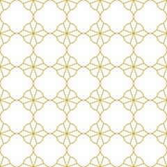Seamless geometric oriental style vector patternn in gold