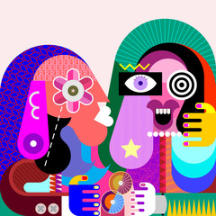 Foto op Canvas Abstractie Art Funny girl and her serious friend vector illustration