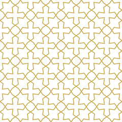 Orient inspired seamless geometric vector pattern with linear crosses and stars