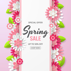 Spring sale banner with beautiful flower. Can be used for template, banners, wallpaper, flyers, invitation, posters, brochure, voucher discount. Vector illustration