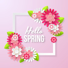 Spring background with beautiful flower. Can be used for template, banners, wallpaper, flyers, invitation, posters, brochure, voucher discount. Vector illustration