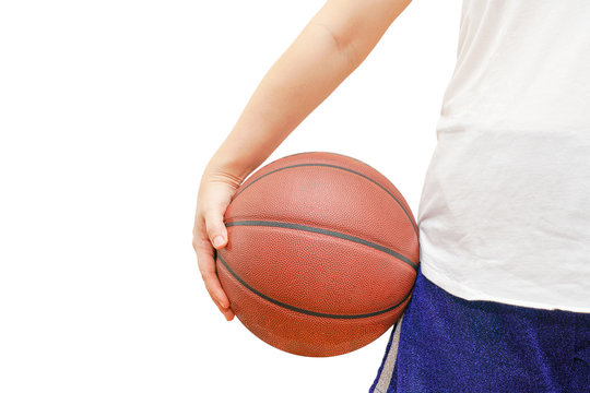 Isolated photo of girl body holding basketball.
