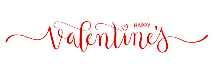 HAPPY VALENTINE'S hand lettering banner with heart