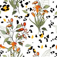 Safari Africa design of leopard and tiger, snake and zebra. Vector. Modern animal skin prints. Flower hand drawn seamless pattern.