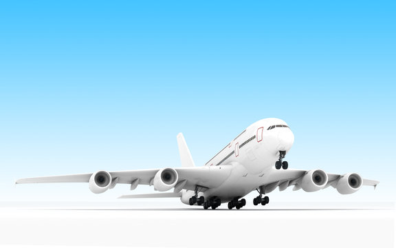 White airplane Airbus A380 takes off or landing. Isolated on blue background. Close-up. Front view. Bottom view. Perspective. 3D illustration.