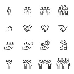 People Icons Line work group Team Vector, Business Meeting Communication