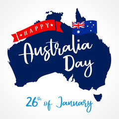 Happy Australia Day lettering on map, greeting card. Vector illustration for 26th january Australia day calligraphy banner with national flag and map