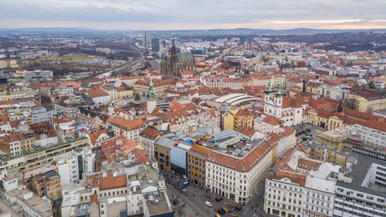 Historical center of Brno in Czech Republic. Aerial view