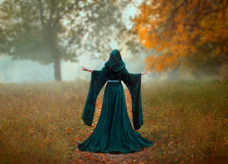 young priestess holds a secret rite of sacrifice, is alone in the autumn forest on a large glade with fallen orange leaves. a woman says a prayer, follows the spirits. art photo without a face