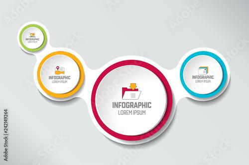 Four Steps Elements Bubble Chart Scheme Diagram Template Infographic