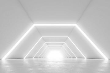 Illuminated corridor interior design. Abstract Futuristic tunnel with light background. 3D rendering.