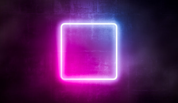 Neon frame abstract square, glowing light blue and pink color on concret wall. 3d rendering.