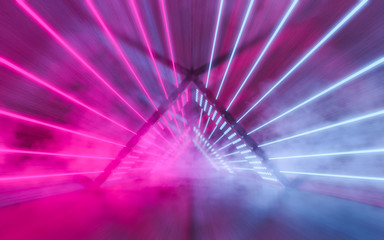 Abstract triangular light tunnel background. Glowing lines ultraviolet spectrum. Pink and blue smoke and fog atmosphere on floor. Fashion vibrant colors spectrum. 3d rendering.
