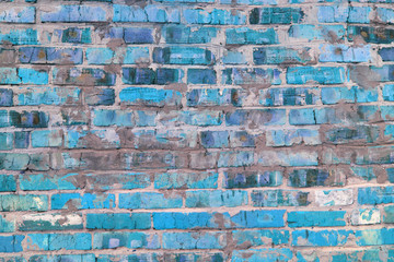 Abstraktnoe photo with a wall of blue brick as an unusual background