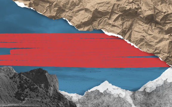 Abstract surreal collage for creativity. Pieces of colored torn paper in landscape composition. Painted bright red place for your text.