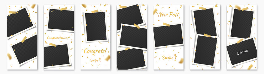Social Network Stories Background Template Set with Photo Frames, Adhesive Tape, Golden Confetti and text: Congrats, Congratulation, Swipe, Liketime for Insta Story. Vector Social Media Design.