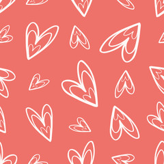 Quirky hand drawn soft cream doodle hearts on coral background as seamless vector pattern Great for Valentine. friendship gifts or decor for girls, giftwrap, scrapbooking and wedding items