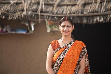 Portrait indian woman in sari at village