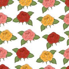 Roses seamless pattern, hand drawing, vector illustration. Drawn flower buds with pink, red, yellow, petals and green leaves on white background. For fabric design, cloth, wallpaper, decorating