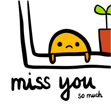 Miss you hand drawn illustration with cute creature
