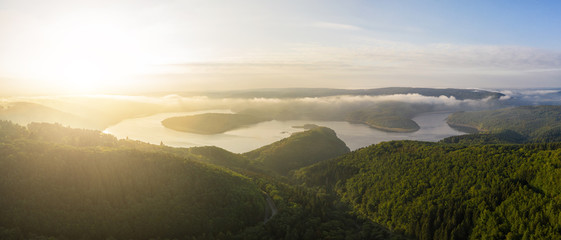 Lake Rursee in the Eifel National Park at the morning
