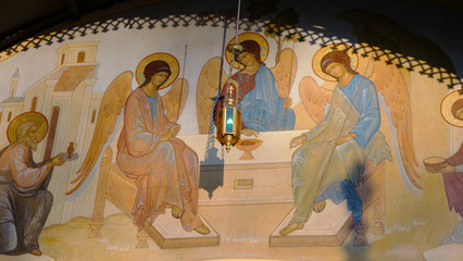 Ancient wall mural history story paint in the Russian Orthodox Church, Moscow Russia