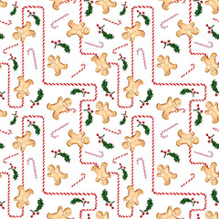 Seamless pattern with gingerbread man, candy cane and holly. Labyrinth of striped candy. Illustration drawn by hand.