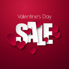 Valentine`s Day Sale background. Vector illustration.
