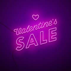 Valentine`s Day Sale background. Vector retro neon sign.