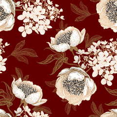 Seamless pattern with peonies and hydrangea flowers. Vector background.
